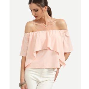 Off shoulder blush top sz large